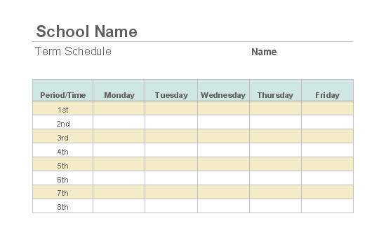 Weekly Class Schedule Template Weekly Class Schedule