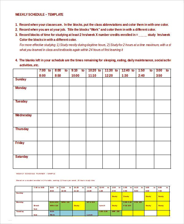 Weekly Class Schedule Template Weekly Schedule Template 10 Free Word Excel Pdf