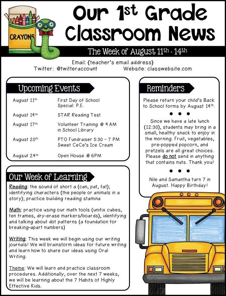 Weekly Classroom Newsletter Template Best 25 Weekly Classroom Newsletter Ideas On Pinterest