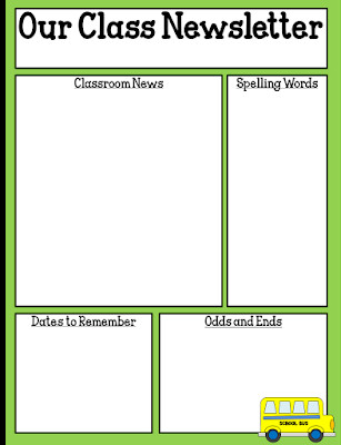 Weekly Classroom Newsletter Template E Teacher S Adventures Freebie Editable Classroom