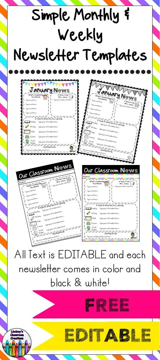 Weekly Classroom Newsletter Template Editable Classroom Newsletter Templates Color & Black