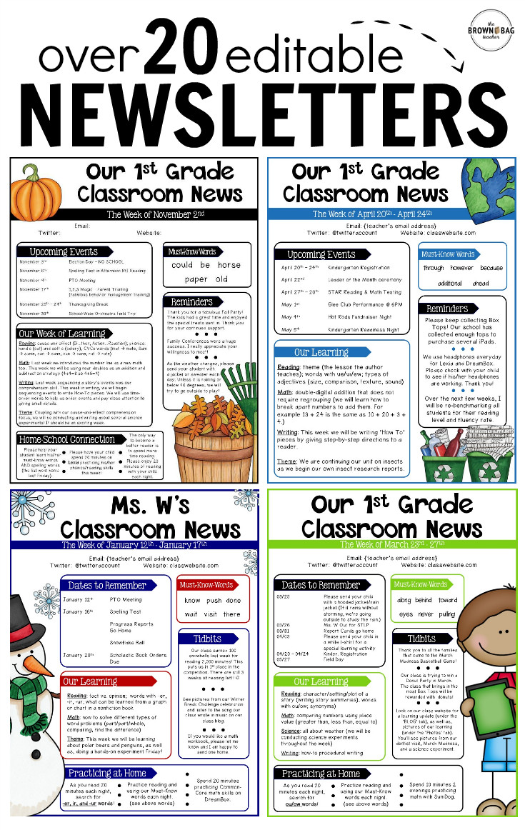 Weekly Classroom Newsletter Template Editable Newsletter Templates Back to School