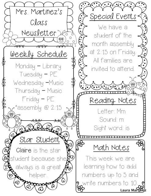 Weekly Classroom Newsletter Template Teacher Laura Editable Class Newsletter Template