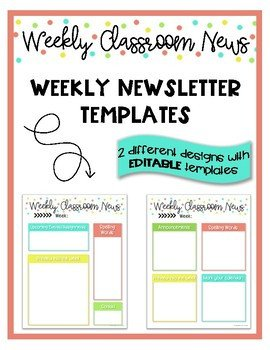 Weekly Classroom Newsletter Template Weekly Classroom Newsletter Templates by Teaching is My