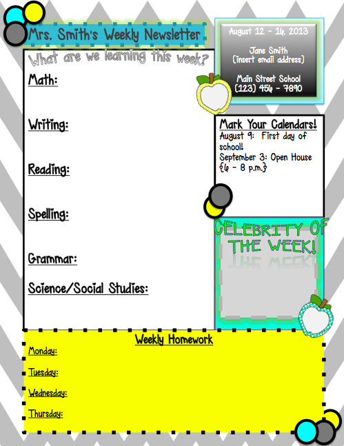 Weekly Classroom Newsletter Template Weekly Newsletter Template…editable In Powerpoint