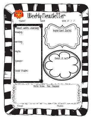 Weekly Classroom Newsletter Template Weekly Newsletter Weekly Newsletter Template and