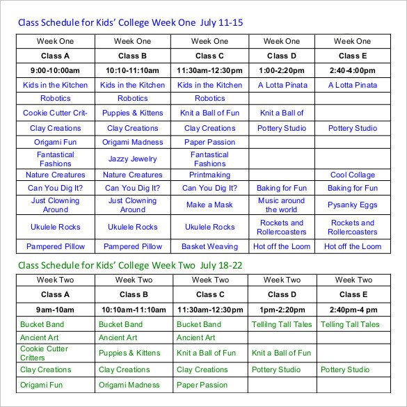 Weekly College Schedule Template Class Schedule Template 36 Free Word Excel Documents
