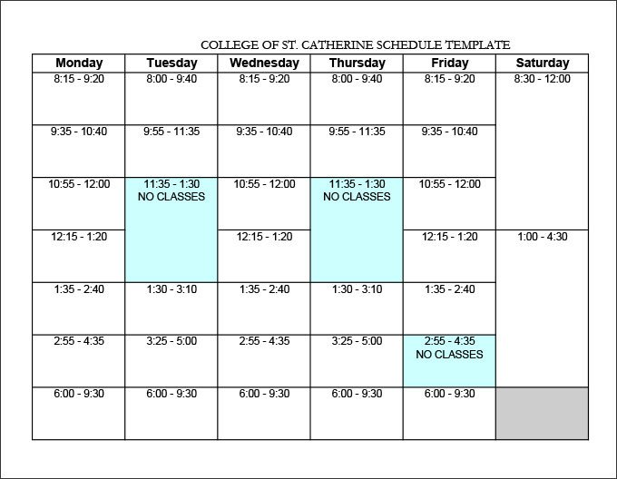 Weekly College Schedule Template College Schedule Template 12 Free Word Excel Pdf