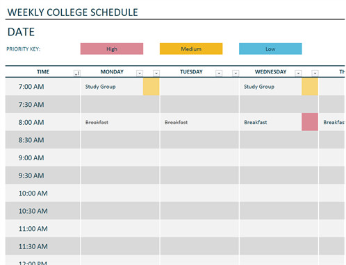 Weekly College Schedule Template Free Templates for Microsoft Fice Suite Fice Templates
