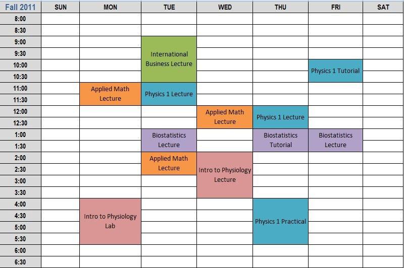 Weekly College Schedule Template Homework Schedule Generator