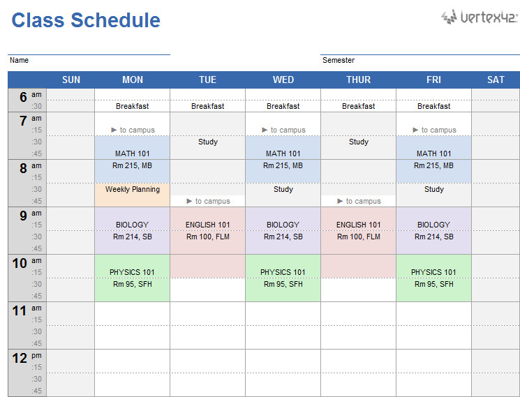 Weekly College Schedule Template Weekly Class Schedule Template for Excel