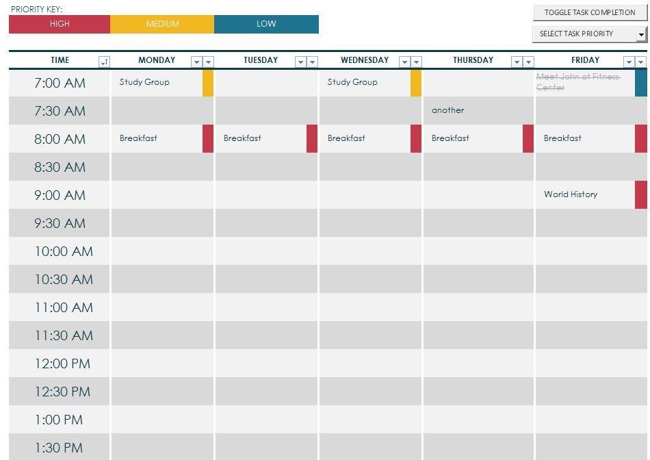 Weekly College Schedule Template Weekly Schedule Maker