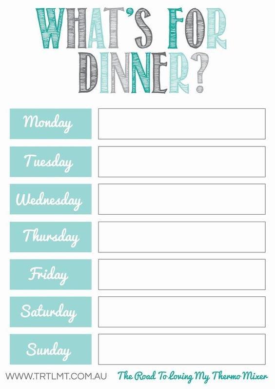 Weekly Dinner Menu Templates 10 Free Weekly Meal Plans – Tip Junkie