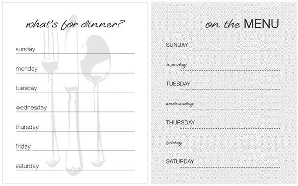 Weekly Dinner Menu Templates 20 Free Menu Planner Printables