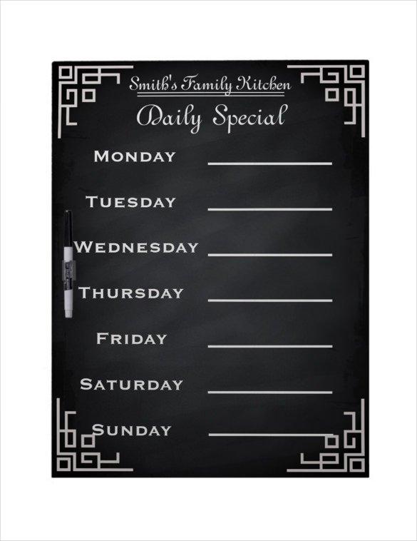 Weekly Dinner Menu Templates 20 Weekly Menu Templates – Free Sample Example format
