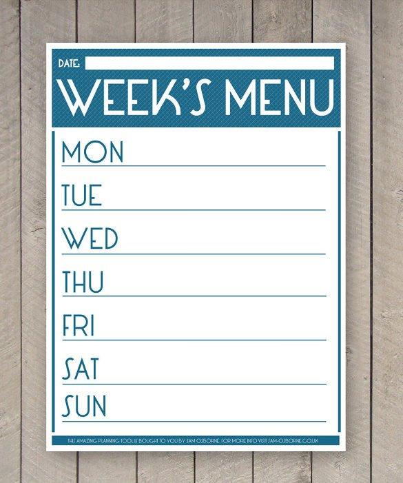 Weekly Dinner Menu Templates 31 Menu Planner Templates Free Sample Example format