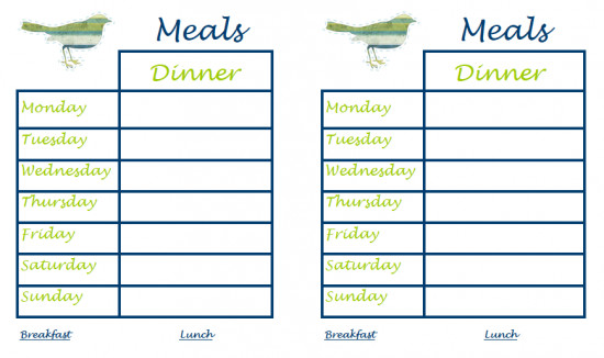 Weekly Dinner Menu Templates 40 Recipe Card Template and Free Printables – Tip Junkie