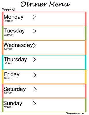 Weekly Dinner Menu Templates Free Printable Weekly Dinner Menu Planner the Dinner Mom