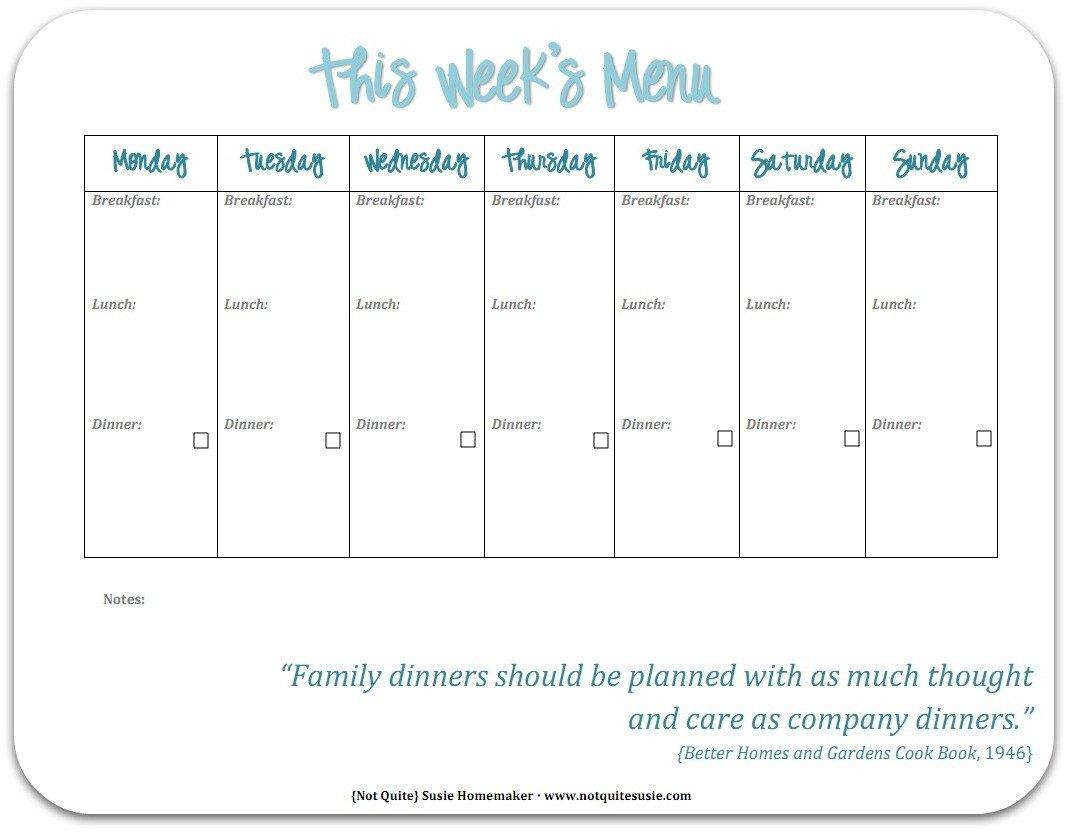 Weekly Dinner Menu Templates Free Printable Weekly Meal Planner Not Quite Susie