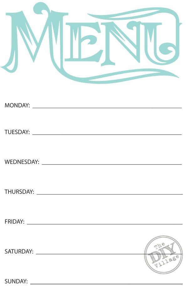 Weekly Dinner Menu Templates Free Printable Weekly Menu Planner