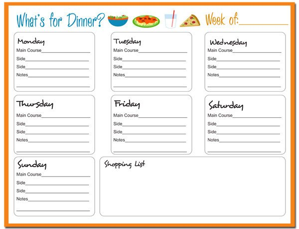 Weekly Dinner Menu Templates Menu Plan Monday May 21 12 Giveaway