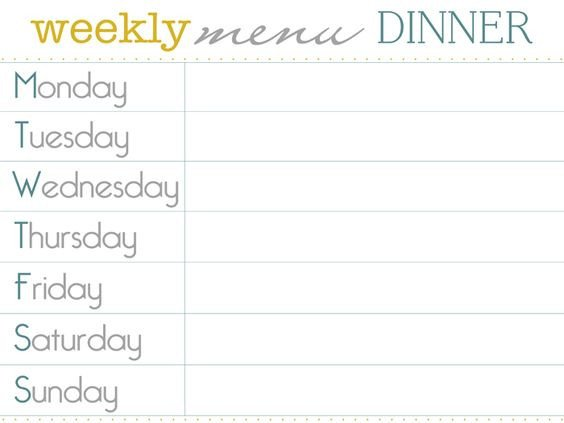 Weekly Dinner Menu Templates Pinterest • the World's Catalog Of Ideas