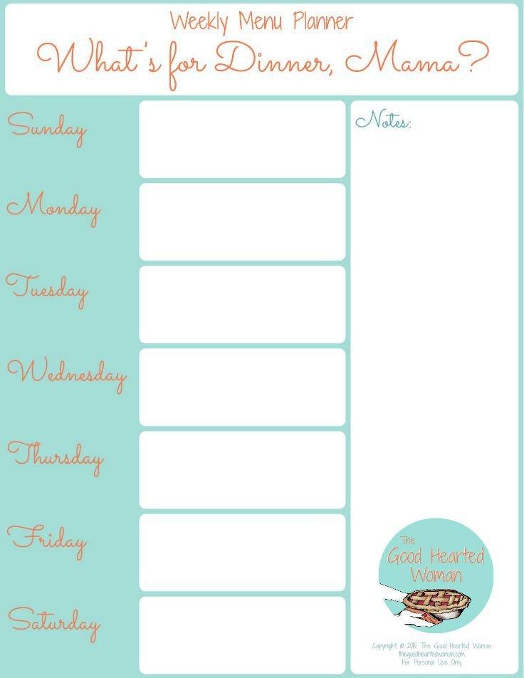 Weekly Dinner Menu Templates Printable Weekly Menu Planner