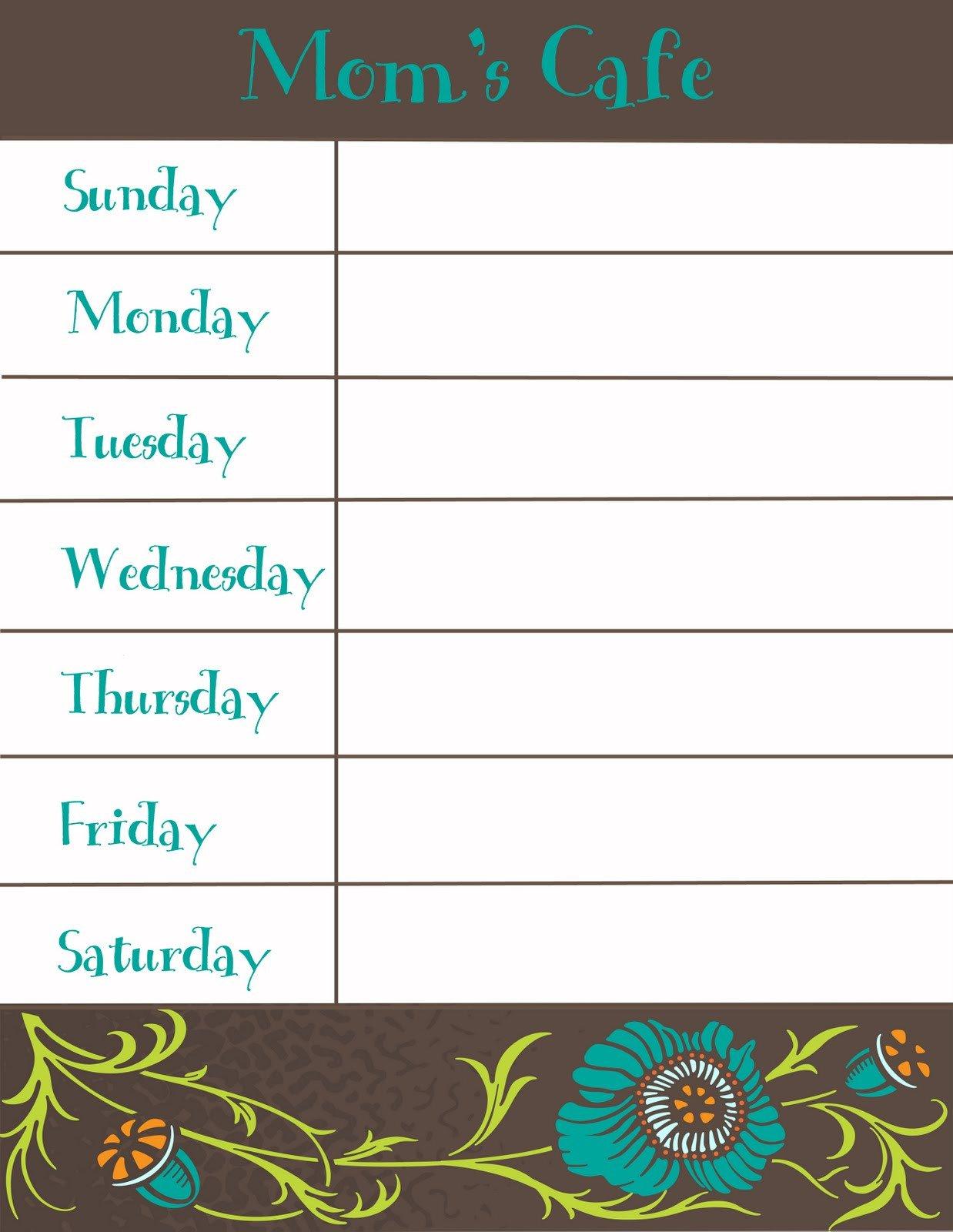 Weekly Dinner Menu Templates therapeutic Crafting Weekly Menu Printable