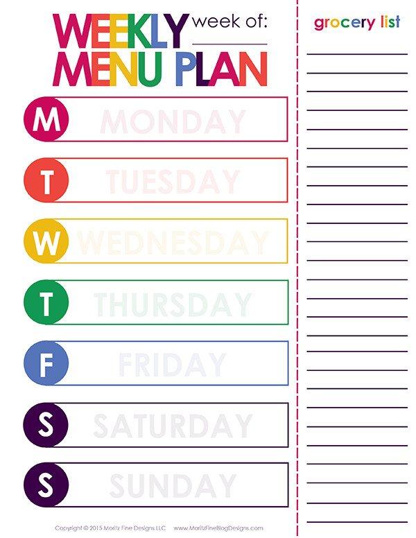 Weekly Dinner Menu Templates Weekly Dinner Meal Planner
