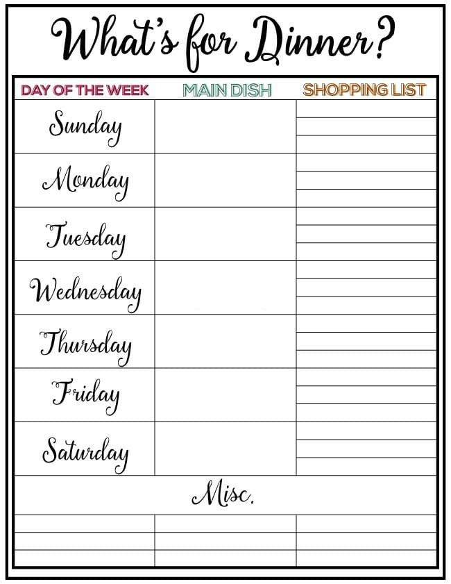 Weekly Dinner Menu Templates Weekly Meal Planner Week 7