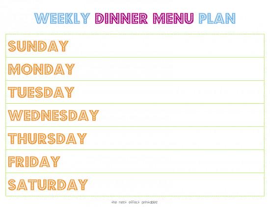 Weekly Dinner Menu Templates Weekly Menu Template
