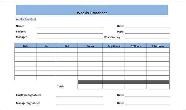 Weekly Employee Timesheet Template 15 Time Card Calculator Templates