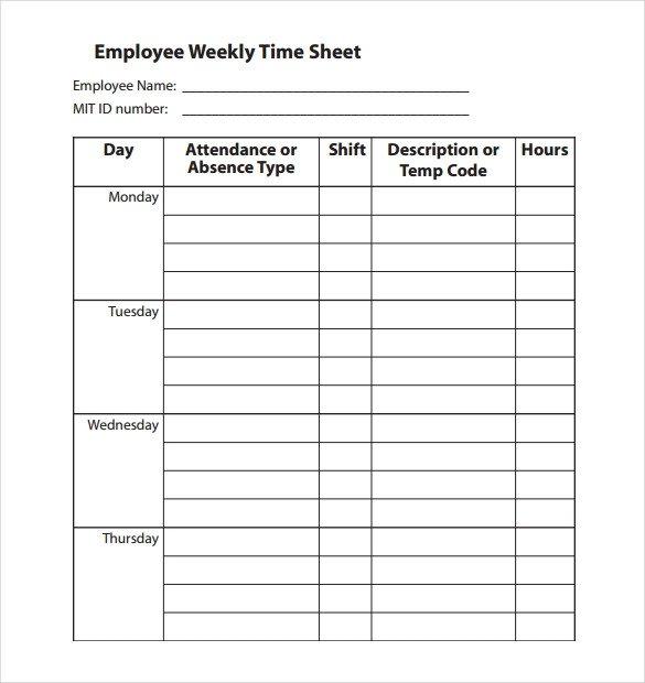Weekly Employee Timesheet Template 22 Employee Timesheet Templates – Free Sample Example