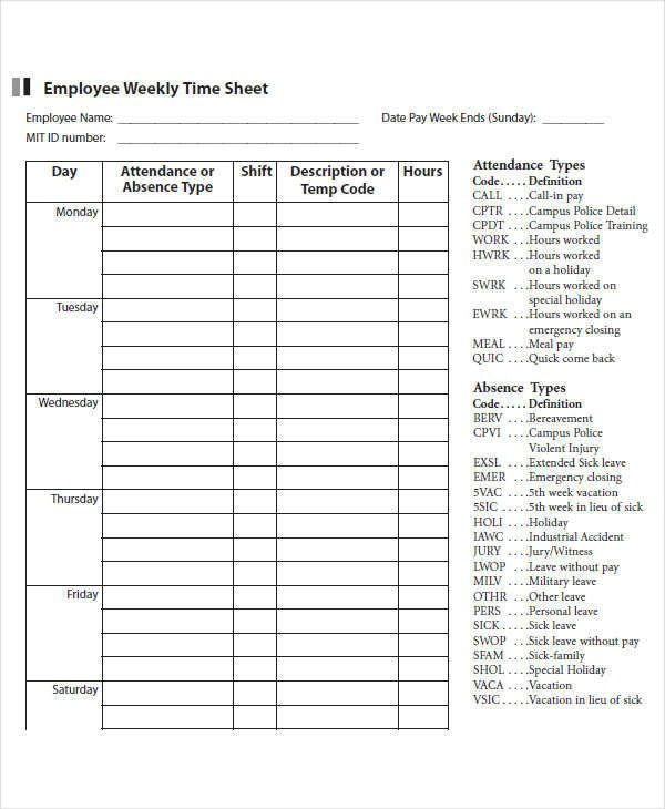 Weekly Employee Timesheet Template 42 Timesheet Templates Docs Pages Word