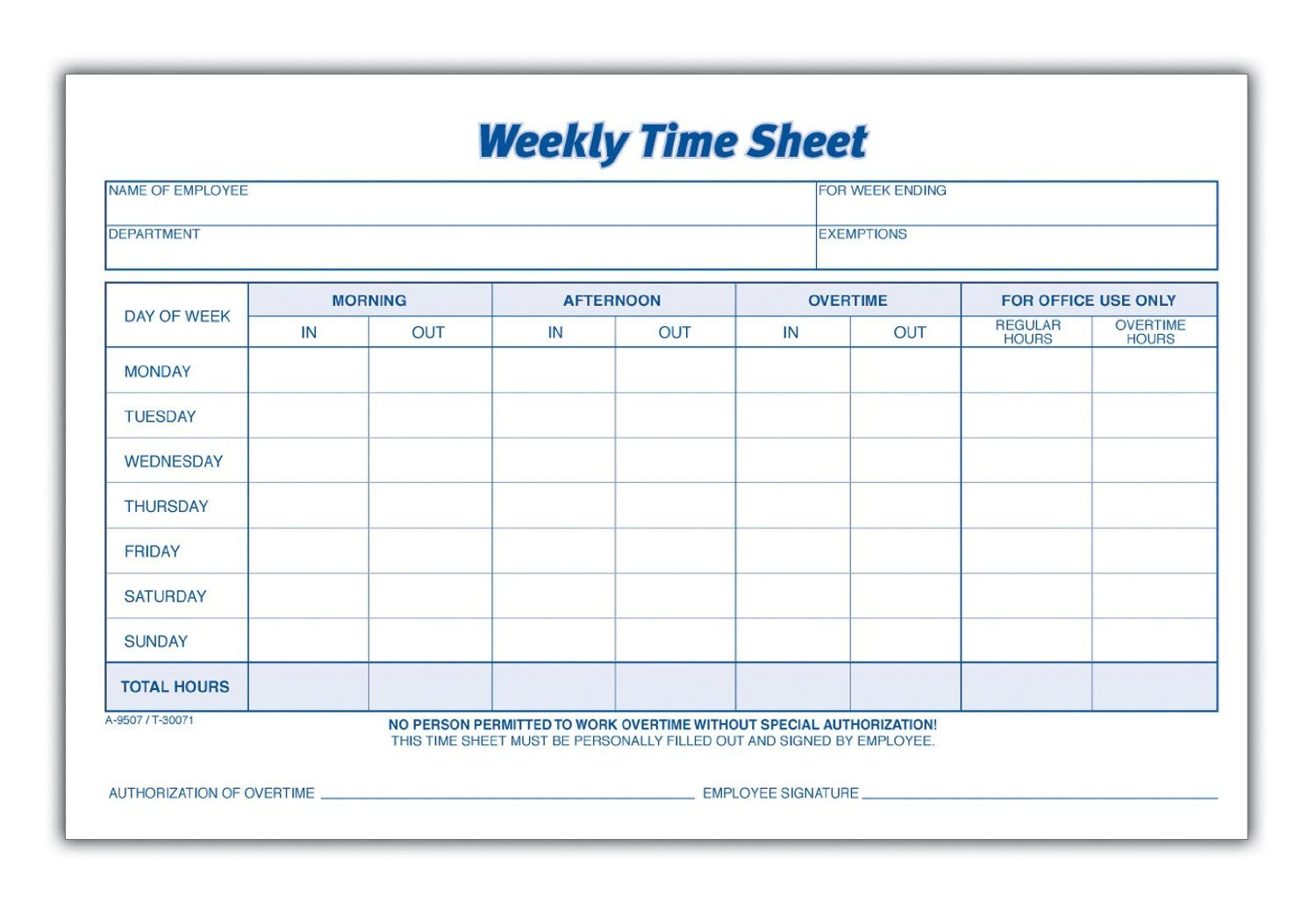 Weekly Employee Timesheet Template 8 Best Of Blank Printable Timesheets Free