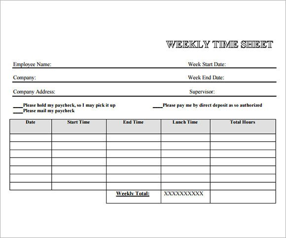 Weekly Employee Timesheet Template Employee Timesheet Sample 13 Documents In Word Excel Pdf