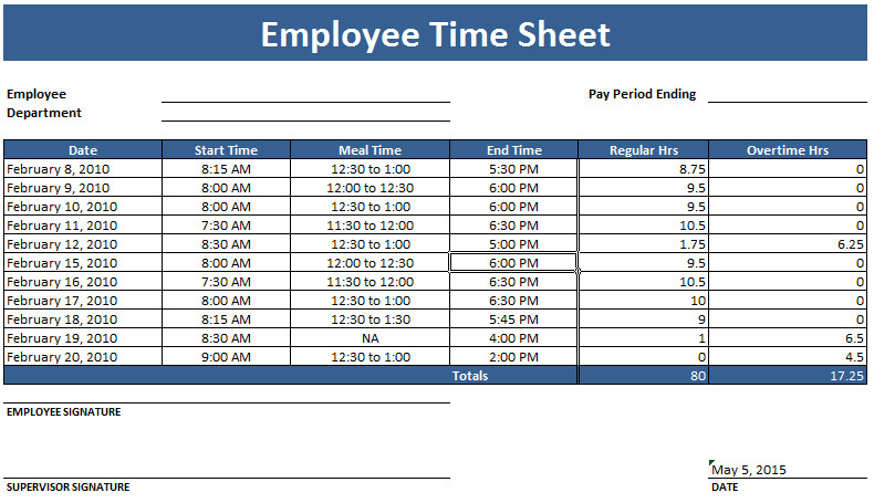 Weekly Employee Timesheet Template Employee Timesheet Template Weekly and Monthly