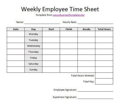 Weekly Employee Timesheet Template Free Sample Weekly Employee Time Sheet Template