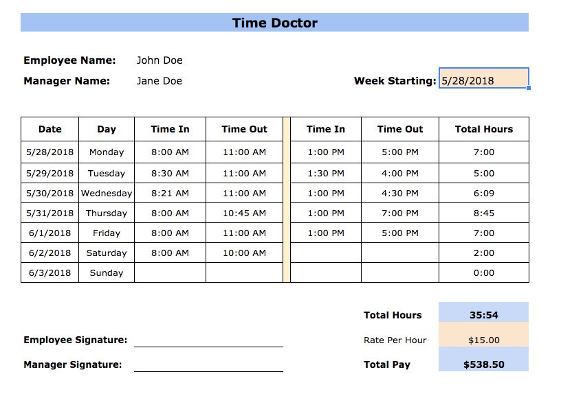 Weekly Employee Timesheet Template Free Timesheet Templates In Excel Pdf Word formats