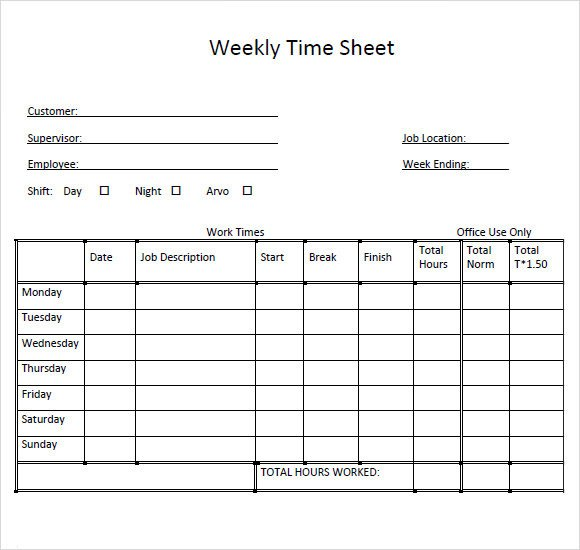 Weekly Employee Timesheet Template Sample Weekly Timesheet Template 9 Free Documents