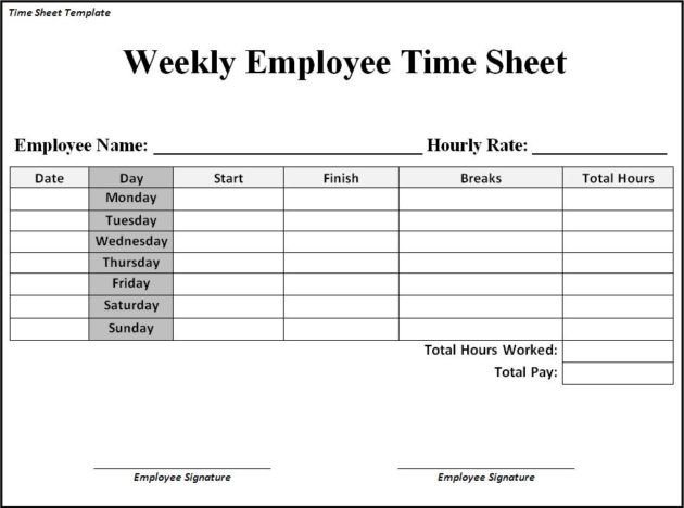 Weekly Employee Timesheet Template Time Sheet Templates Free
