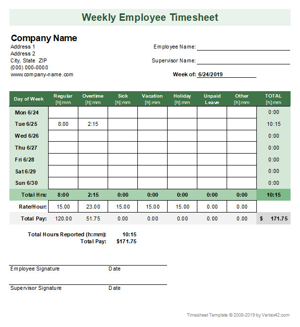 Weekly Employee Timesheet Template Timesheet Template Free Simple Time Sheet for Excel