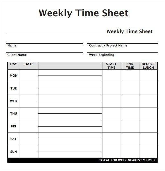 Weekly Employee Timesheet Template Weekly Employee Timesheet Template Work