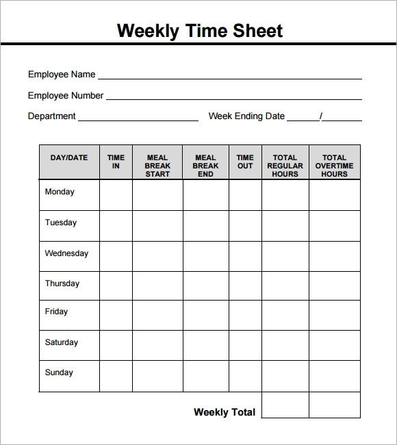 Weekly Employee Timesheet Template Weekly Timesheet Template 15 Free Download In Pdf