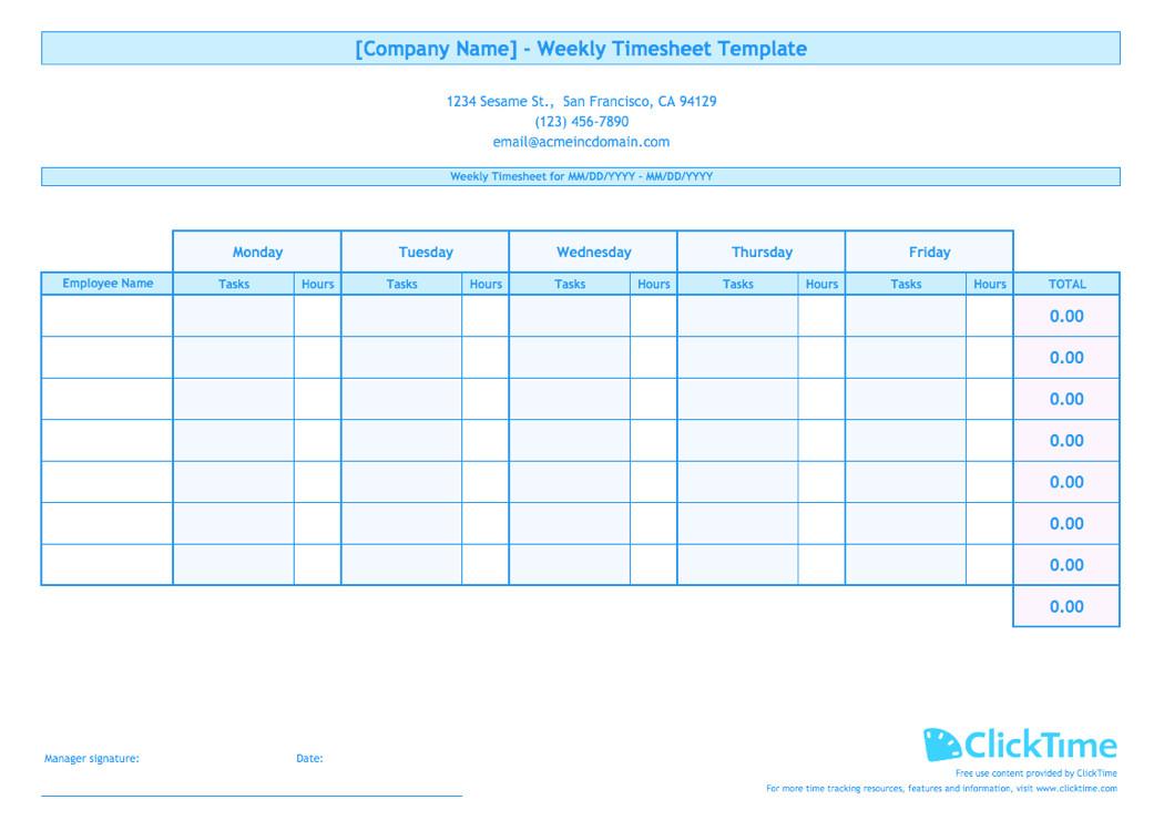Weekly Employee Timesheet Template Weekly Timesheet Template for Multiple Employees