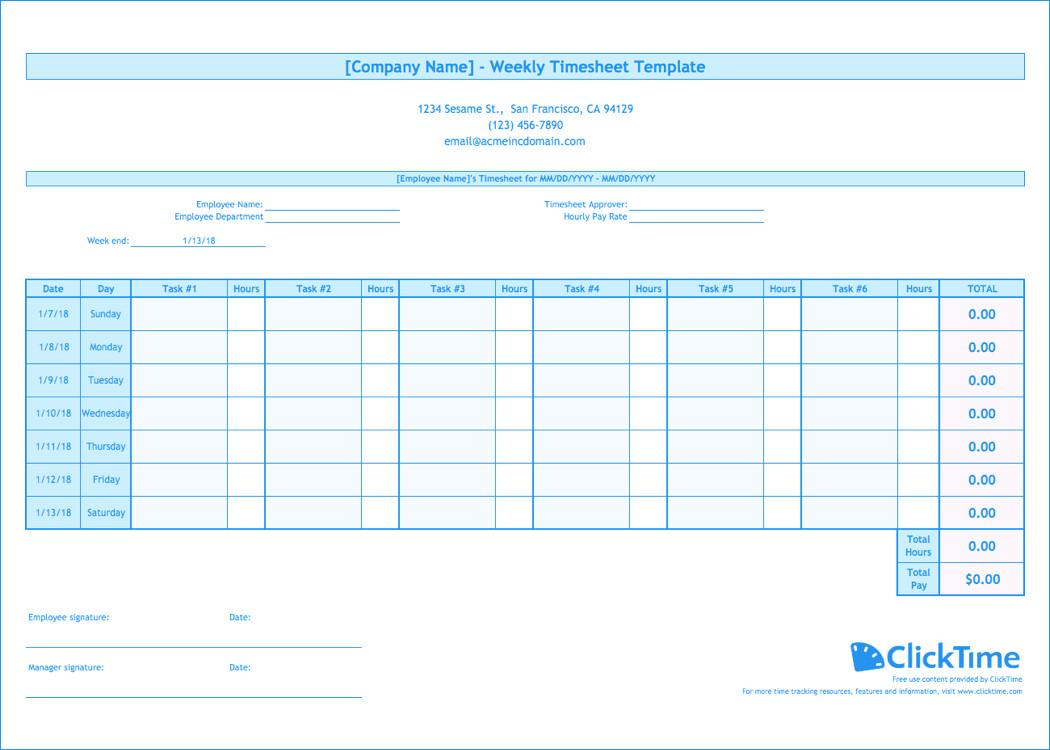 Weekly Employee Timesheet Template Weekly Timesheet Template Free Excel Timesheets