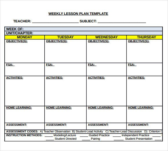 Weekly Lesson Plan Template Doc Sample Middle School Lesson Plan Template 7 Free