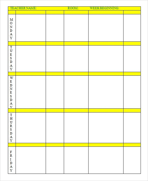Weekly Lesson Plan Template Doc Weekly Lesson Plan 8 Free Download for Word Excel Pdf