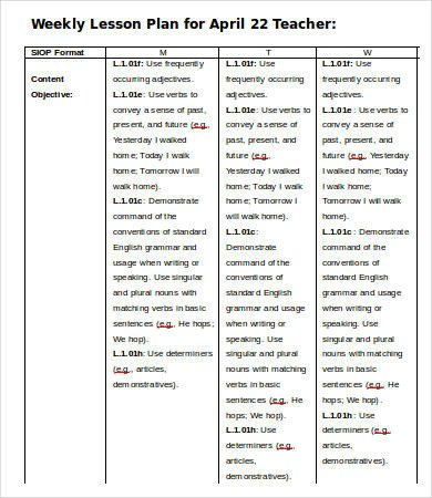 Weekly Lesson Plan Template Doc Weekly Lesson Plan Template 11 Free Word Pdf Documents