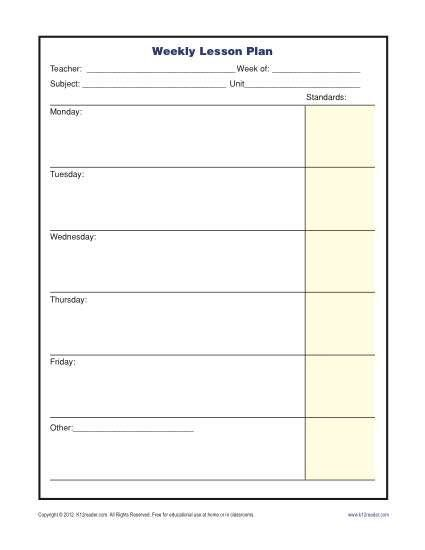 Weekly Lesson Plan Template Doc Weekly Lesson Plan Template with Standards Elementary